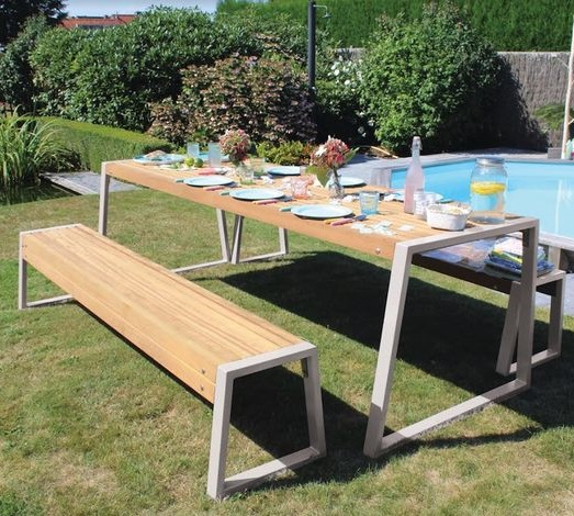 Lucca L lounge tuinset (ral9010 wit)  tafel 250 x 90cm